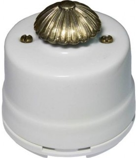 Выключатель с регулятором яркости для наружного монтажа (диммер) Salvador, белый