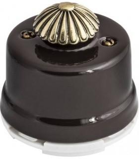 Выключатель с регулятором яркости для наружного монтажа (диммер) Salvador, коричневый