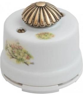 """Выключатель с регулятором яркости для наружного монтажа (диммер) Salvador, белый с узором """"Яблоня"""""""