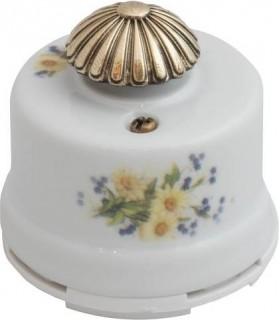 """Выключатель с регулятором яркости для наружного монтажа (диммер) Salvador, белый с узором """"Ромашка"""""""