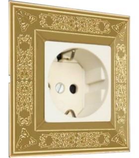 Розетка FEDE серии Granada цвет Bright Gold