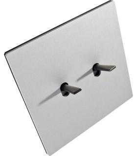 Двухклавишный выключатель в двойной рамке в сборе Fontini Font Barcelona 5.1 Collection, матовый алюминий, цвет серебро