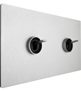 Двухклавишный выключатель в двойной рамке с кольцом в сборе Fontini Font Barcelona 5.1 Collection, матовый алюминий, цвет серебр