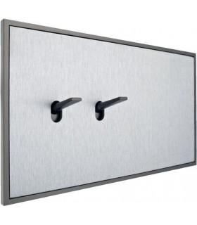 Двухклавишный выключатель в двойной рамке в сборе с обрамлением Fontini Font Barcelona 5.1 Collection, матовый алюминий, цвет се