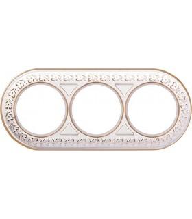 Рамка на 3 поста для наружного монтажа Werkel Antik Runda, белое золото