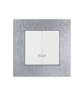 2-х клавишный выключатель ABB серии carat сталь/белый