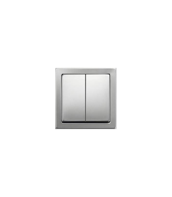 Выключатель 2-х клавишный ABB серии Pure сталь