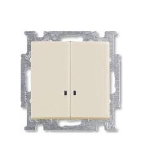 Выключатель двухклавишный с индикацией ABB Basic 55, слоновая кость