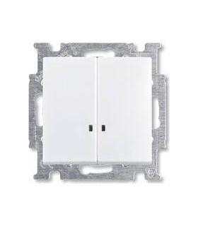 Выключатель двухклавишный с индикацией ABB Basic 55, белый