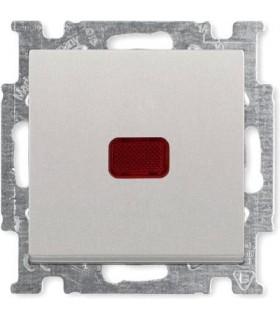 Выключатель одноклавишный с индикацией ABB Basic 55, шампань/металлик