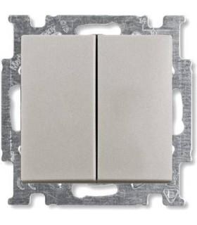Выключатель двухклавишный ABB Basic 55, шампань/металлик