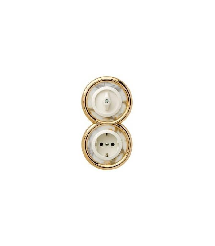 Выключатель и Розетка Berker серии Palazzo белый мрамор/белый