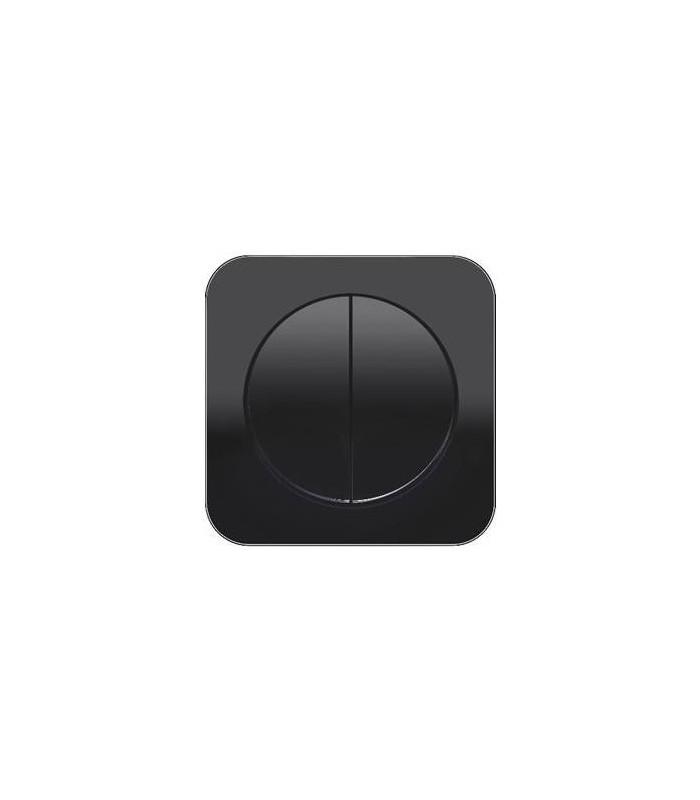 Выключатель 2-х клавишный Berker серии R.1 стекло, цвет: черный