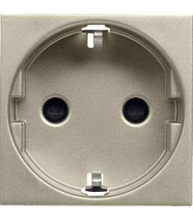 Розетка с заземлением с защитными шторками, винтовой зажим (2 модуля) ABB Niessen Zenit, шампань