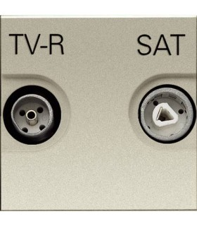 Розетка TV/R-SAT, единственная (2 модуля) ABB Niessen Zenit, шампань