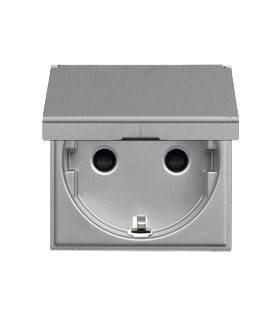 Розетка с заземлением с защитными шторками с крышкой (2 модуля) ABB Niessen Zenit, серебро