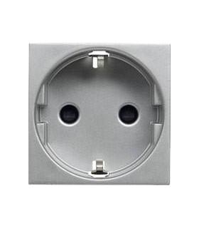 Розетка с заземлением с защитными шторками, винтовой зажим (2 модуля) ABB Niessen Zenit, серебро