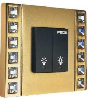 Выключатель 2-х клавишный FEDE серии Crystal De Luxe DECOR
