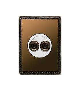 2-кл. тумблерный выключатель Fontini Venezia Metal рамка бронза, накладка бронза/белый