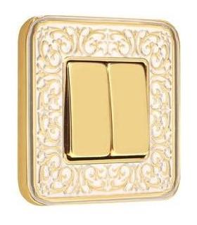 Выключатель 2-х клавишный FEDE серии EMPORIO Gold White Patina