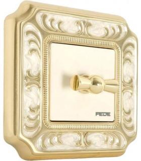 Поворотный выключатель FEDE серии SMALTO ITALIANO Siena gold white patina