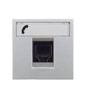 Розетка телефонная на 6 контактов, RJ12 (2 модуля) ABB Niessen Zenit, серебро