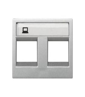 Накладка двойной телефонной/компьютерной розетки ABB Niessen Zenit, серебро