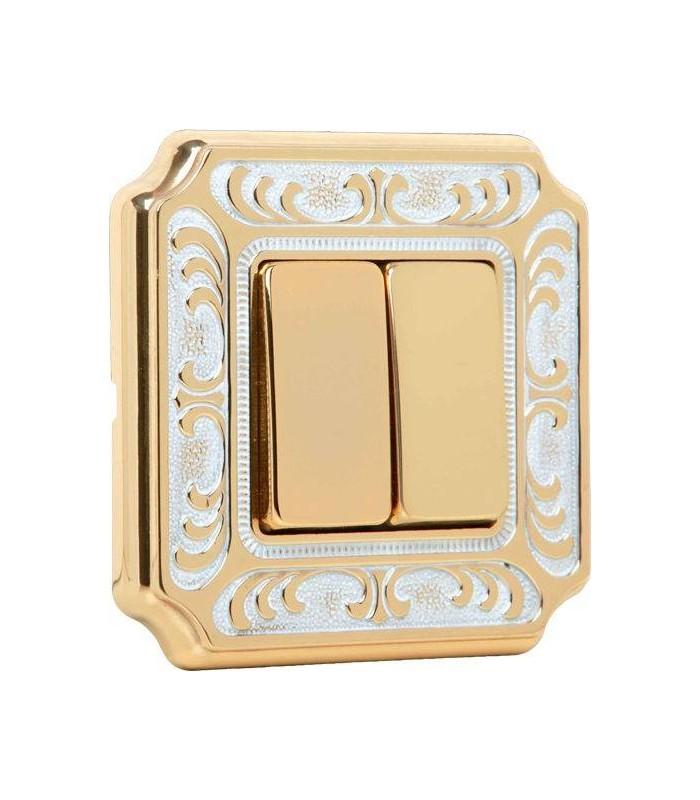 2-х клавишный выключатель FEDE серии SIENA gold white patina