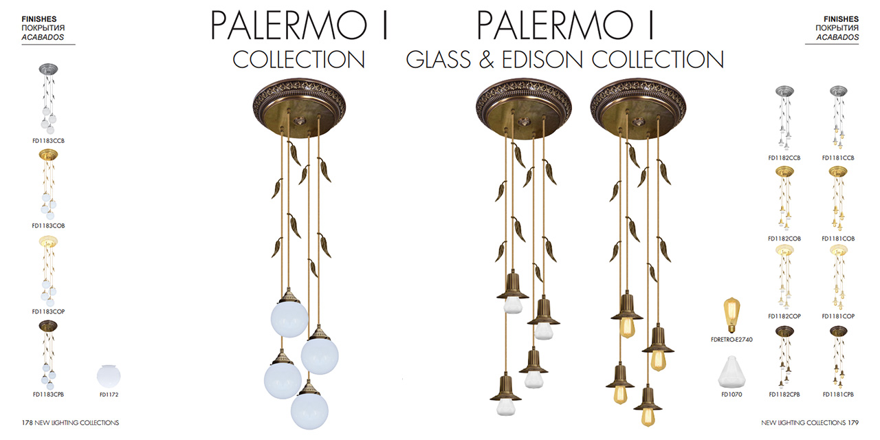 FEDE PALERMO I COLLECTION, FEDE PALERMO I GLASS & EDISON COLLECTION