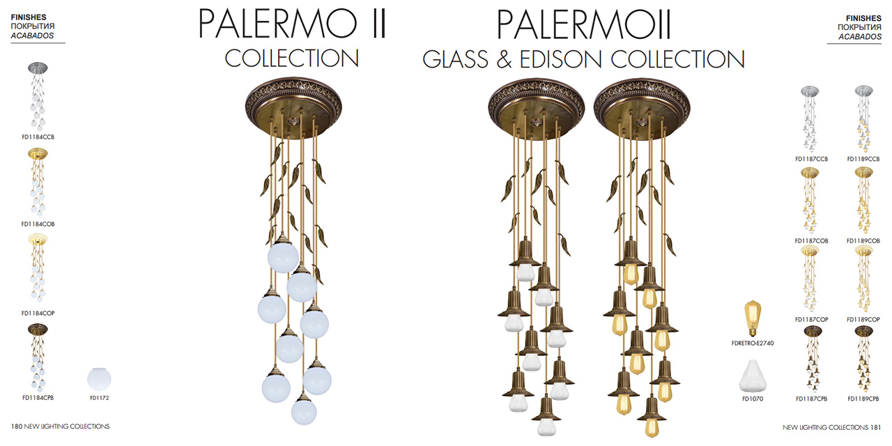 FEDE PALERMO II COLLECTION, FEDE PALERMO II GLASS & EDISON COLLECTION